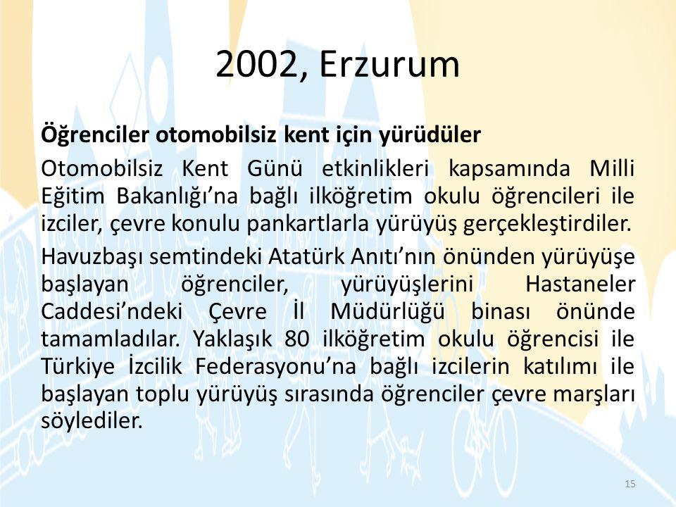 2002, Erzurum Öğrenciler otomobilsiz kent için yürüdüler Otomobilsiz Kent Günü etkinlikleri kapsamında Milli Eğitim Bakanlığı'na bağlı ilköğretim okul