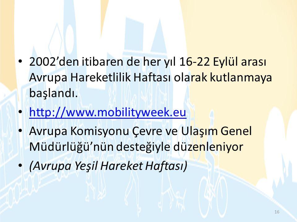 • 2002'den itibaren de her yıl 16-22 Eylül arası Avrupa Hareketlilik Haftası olarak kutlanmaya başlandı. • http://www.mobilityweek.eu http://www.mobil