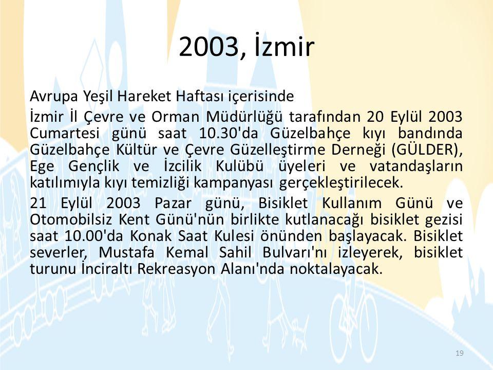 2003, İzmir Avrupa Yeşil Hareket Haftası içerisinde İzmir İl Çevre ve Orman Müdürlüğü tarafından 20 Eylül 2003 Cumartesi günü saat 10.30'da Güzelbahçe