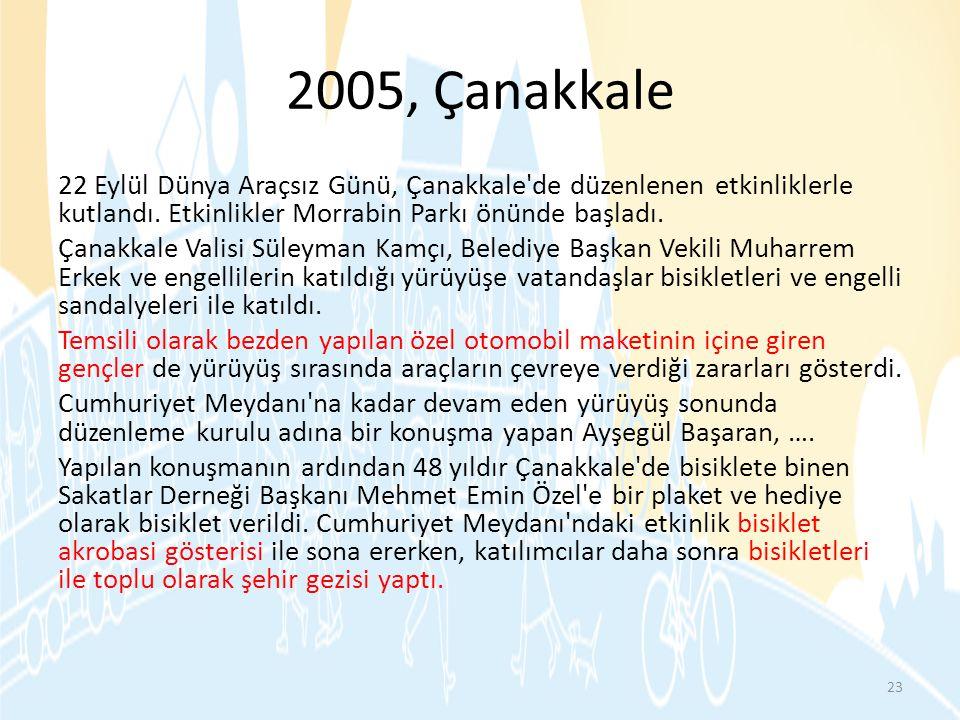 2005, Çanakkale 22 Eylül Dünya Araçsız Günü, Çanakkale'de düzenlenen etkinliklerle kutlandı. Etkinlikler Morrabin Parkı önünde başladı. Çanakkale Vali