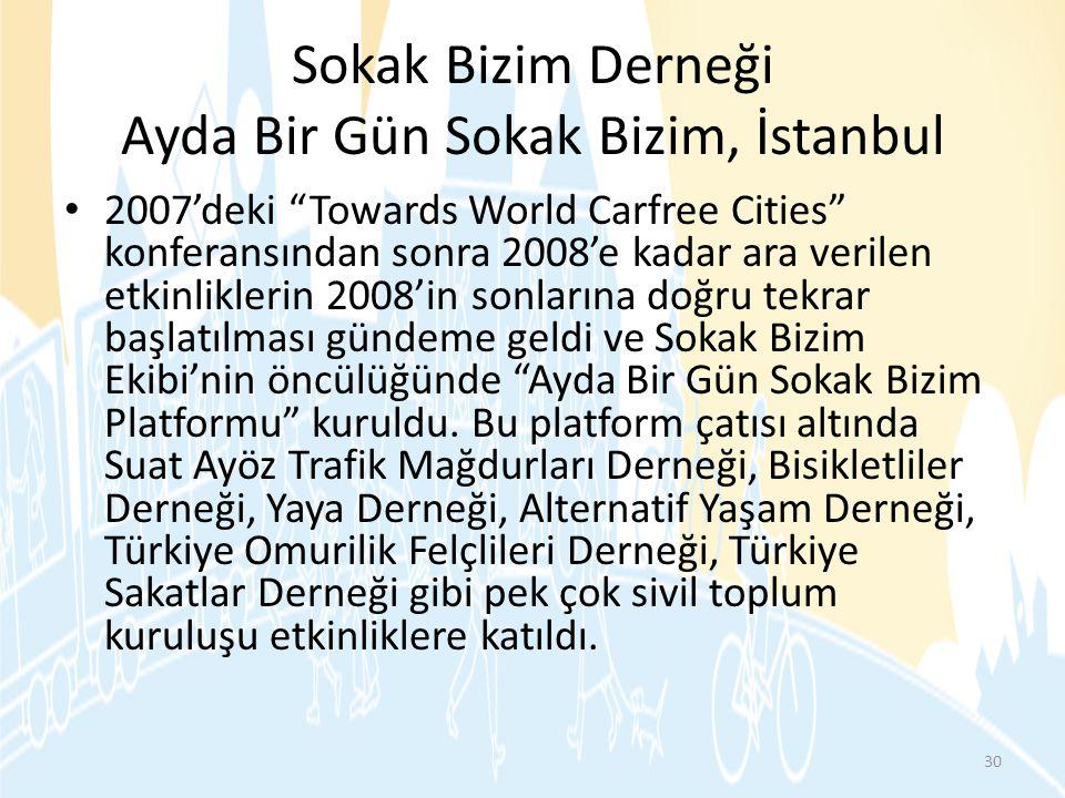 """Sokak Bizim Derneği Ayda Bir Gün Sokak Bizim, İstanbul • 2007'deki """"Towards World Carfree Cities"""" konferansından sonra 2008'e kadar ara verilen etkinl"""