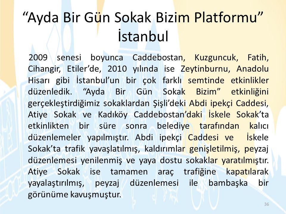 """""""Ayda Bir Gün Sokak Bizim Platformu"""" İstanbul 2009 senesi boyunca Caddebostan, Kuzguncuk, Fatih, Cihangir, Etiler'de, 2010 yılında ise Zeytinburnu, An"""
