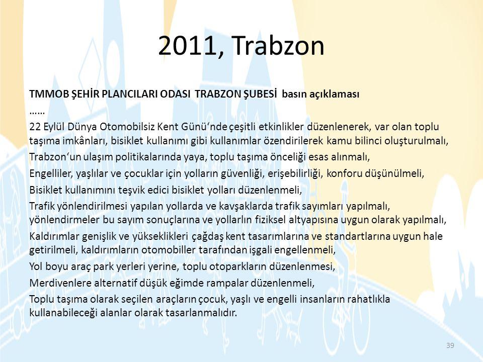 2011, Trabzon TMMOB ŞEHİR PLANCILARI ODASI TRABZON ŞUBESİ basın açıklaması …… 22 Eylül Dünya Otomobilsiz Kent Günü'nde çeşitli etkinlikler düzenlenere