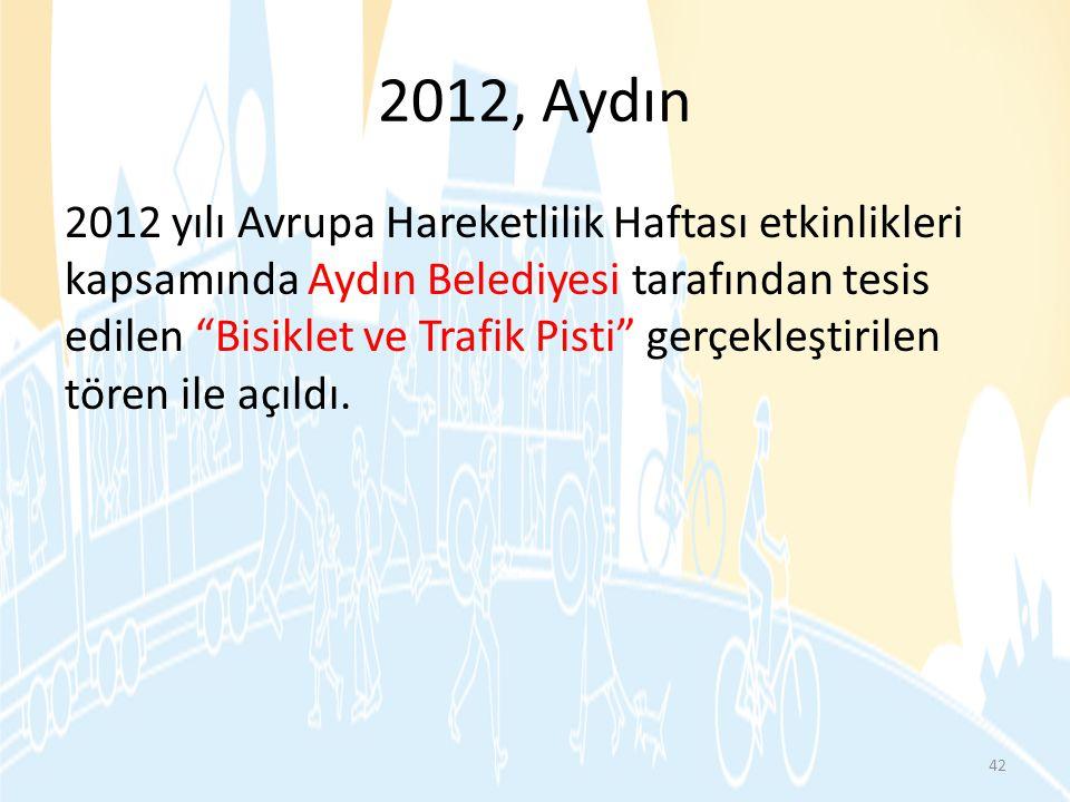 """2012, Aydın 2012 yılı Avrupa Hareketlilik Haftası etkinlikleri kapsamında Aydın Belediyesi tarafından tesis edilen """"Bisiklet ve Trafik Pisti"""" gerçekle"""