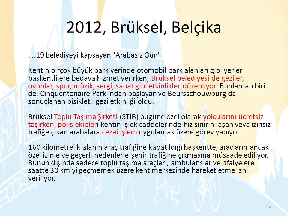 2012, Brüksel, Belçika ….19 belediyeyi kapsayan