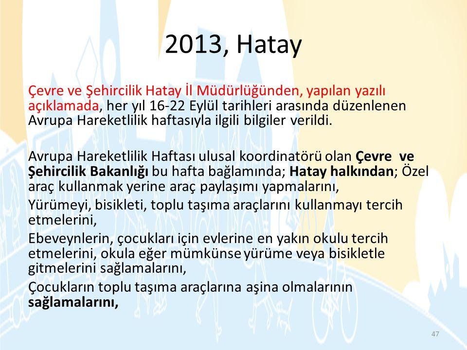 2013, Hatay Çevre ve Şehircilik Hatay İl Müdürlüğünden, yapılan yazılı açıklamada, her yıl 16-22 Eylül tarihleri arasında düzenlenen Avrupa Hareketlil