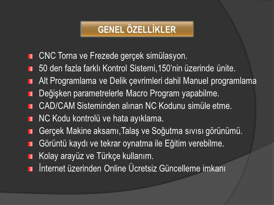 CNC Torna ve Frezede gerçek simülasyon. 50 den fazla farklı Kontrol Sistemi,150'nin üzerinde ünite. Alt Programlama ve Delik çevrimleri dahil Manuel p