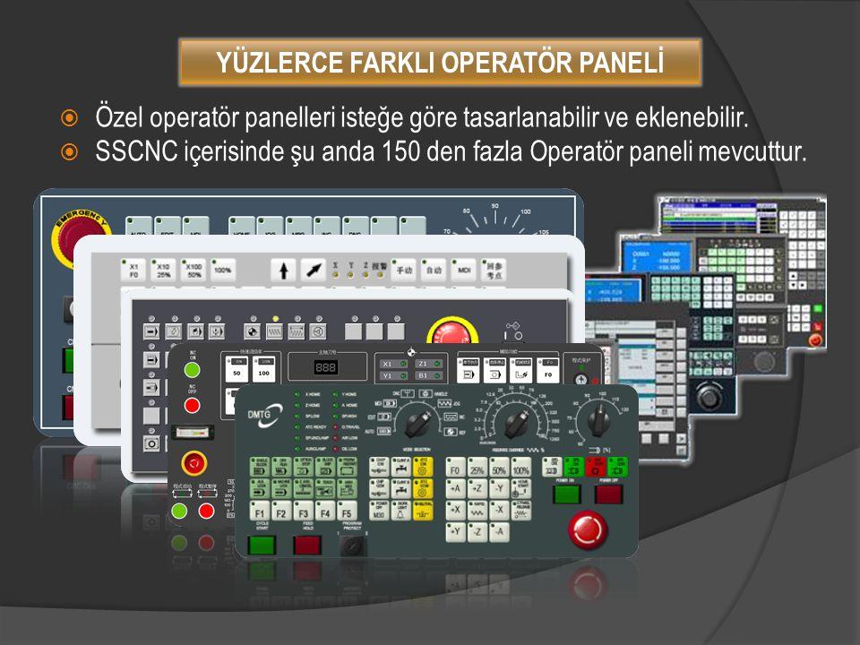  Özel operatör panelleri isteğe göre tasarlanabilir ve eklenebilir.  SSCNC içerisinde şu anda 150 den fazla Operatör paneli mevcuttur. YÜZLERCE FARK