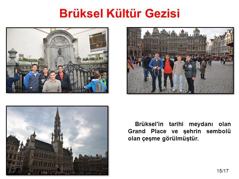15/17 Brüksel Kültür Gezisi Brüksel in tarihi meydanı olan Grand Place ve şehrin sembolü olan çeşme görülmüştür.