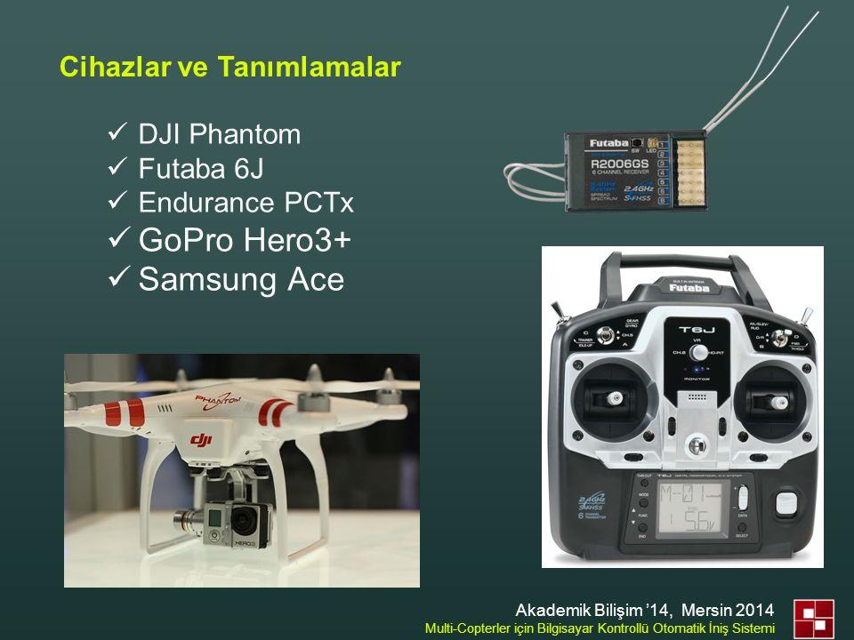Cihazlar ve Tanımlamalar  DJI Phantom  Futaba 6J  Endurance PCTx  GoPro Hero3+  Samsung Ace Akademik Bilişim '14, Mersin 2014 Multi-Copterler içi