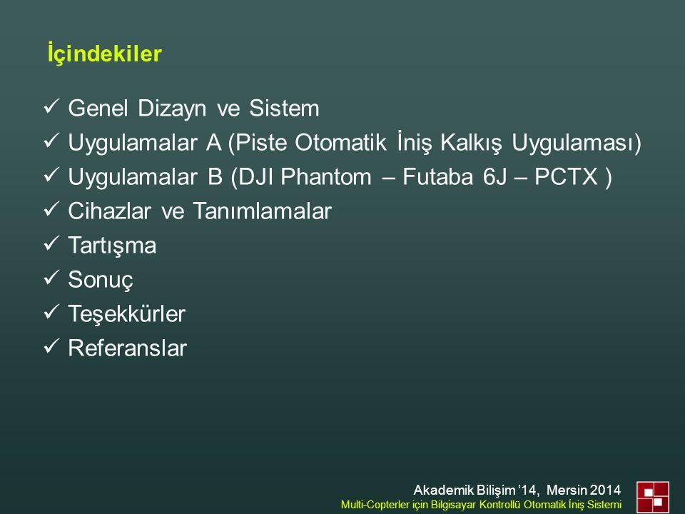 İçindekiler  Genel Dizayn ve Sistem  Uygulamalar A (Piste Otomatik İniş Kalkış Uygulaması)  Uygulamalar B (DJI Phantom – Futaba 6J – PCTX )  Cihaz