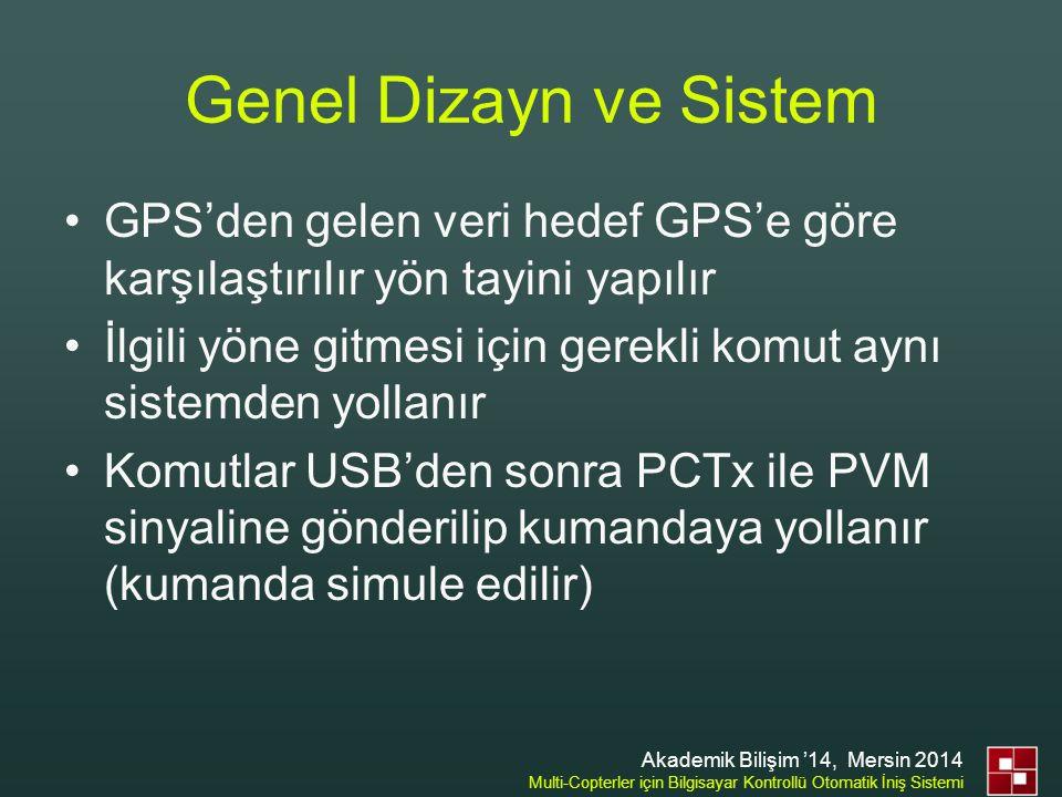 Genel Dizayn ve Sistem •GPS'den gelen veri hedef GPS'e göre karşılaştırılır yön tayini yapılır •İlgili yöne gitmesi için gerekli komut aynı sistemden