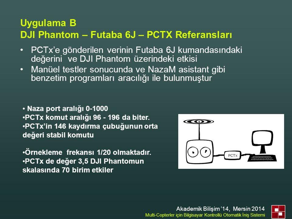 Uygulama B DJI Phantom – Futaba 6J – PCTX Referansları •PCTx'e gönderilen verinin Futaba 6J kumandasındaki değerini ve DJI Phantom üzerindeki etkisi •