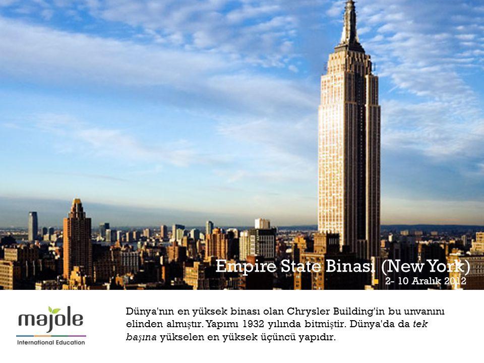 + Empire State Binası (New York)  2- 10 Aralık 2012 Dünya'nın en yüksek binası olan Chrysler Building'in bu unvanını elinden almı ş tır. Yapımı 1932