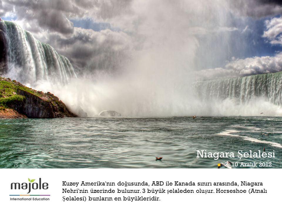 + Kuzey Amerika'nın do ğ usunda, ABD ile Kanada sınırı arasında, Niagara Nehri'nin üzerinde bulunur. 3 büyük ş elaleden olu ş ur. Horseshoe (Atnalı Ş