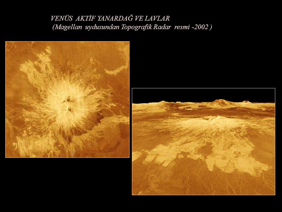 RADAR İLE (Magellan) UYDUSUNDAN VENÜS YÜZEYİ TOPOGRAFİK GÖRÜNTÜ (Pancake- şeklinde ) Asteroid –Meteor KRATERLERİ