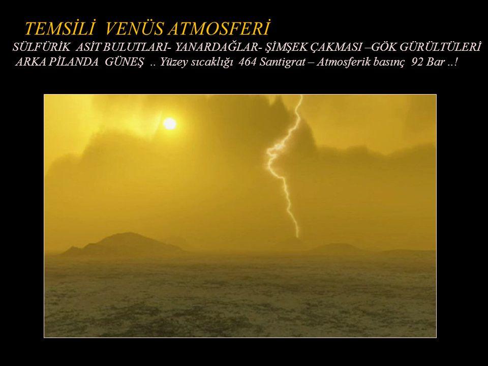 TOPOGRAFİK RADAR RESMİ - YANARDAĞ (Arka planda) ve METEOR KRATERİ –LAVLAR (Magellan Uydusu 2002 )