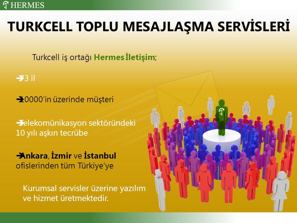 TURKCELL TOPLU MESAJLAŞMA SERVİSLERİ Turkcell iş ortağı Hermes İletişim;  73 il  10000'in üzerinde müşteri  Ankara, İzmir ve İstanbul ofislerinden tüm Türkiye'ye  Telekomünikasyon sektöründeki 10 yılı aşkın tecrübe Kurumsal servisler üzerine yazılım ve hizmet üretmektedir.