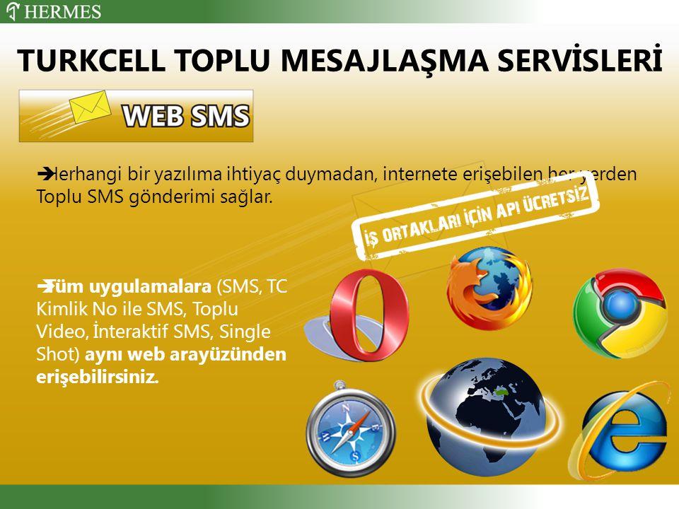  Herhangi bir yazılıma ihtiyaç duymadan, internete erişebilen her yerden Toplu SMS gönderimi sağlar.
