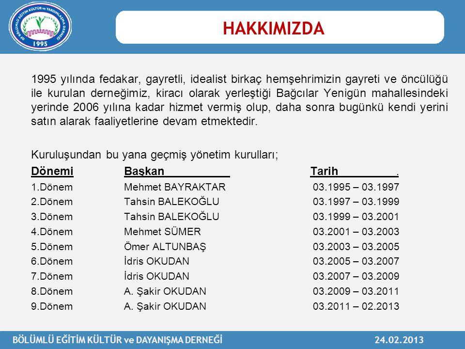 BÖLÜMLÜ EĞİTİM KÜLTÜR ve DAYANIŞMA DERNEĞİ 24.02.2013 1995 yılında fedakar, gayretli, idealist birkaç hemşehrimizin gayreti ve öncülüğü ile kurulan de