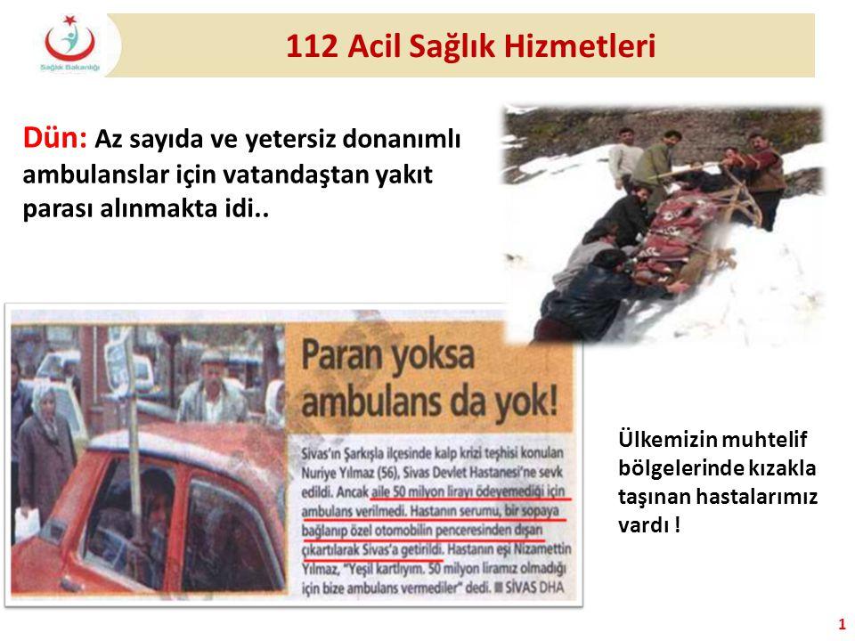 1 112 Acil Sağlık Hizmetleri Dün: Az sayıda ve yetersiz donanımlı ambulanslar için vatandaştan yakıt parası alınmakta idi.. Ülkemizin muhtelif bölgele