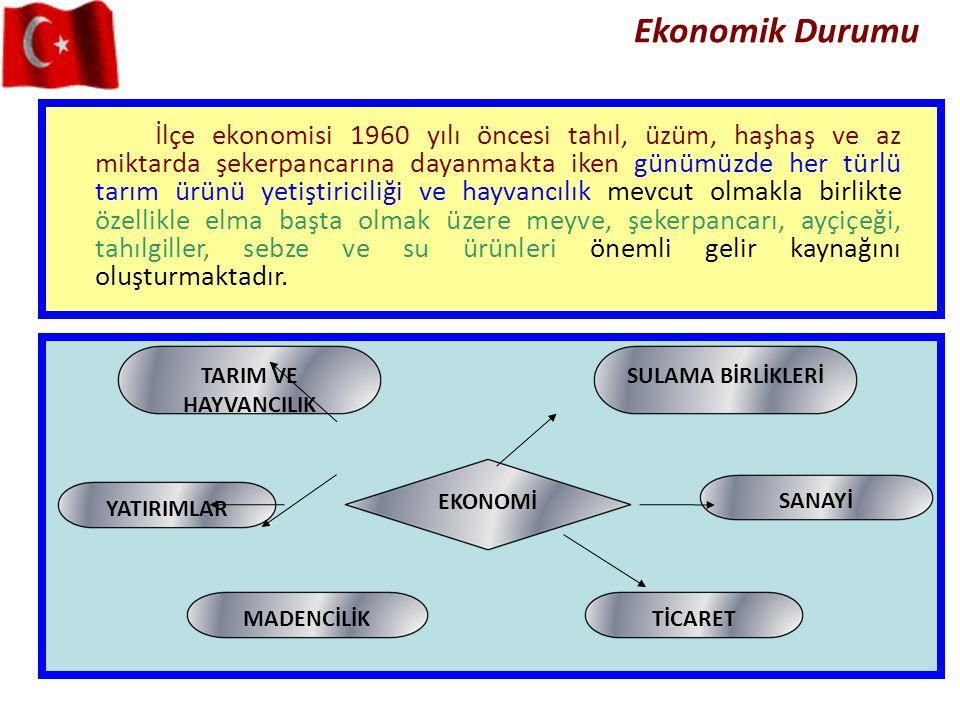 Ekonomik Durumu İlçe ekonomisi 1960 yılı öncesi tahıl, üzüm, haşhaş ve az miktarda şekerpancarına dayanmakta iken günümüzde her türlü tarım ürünü yeti