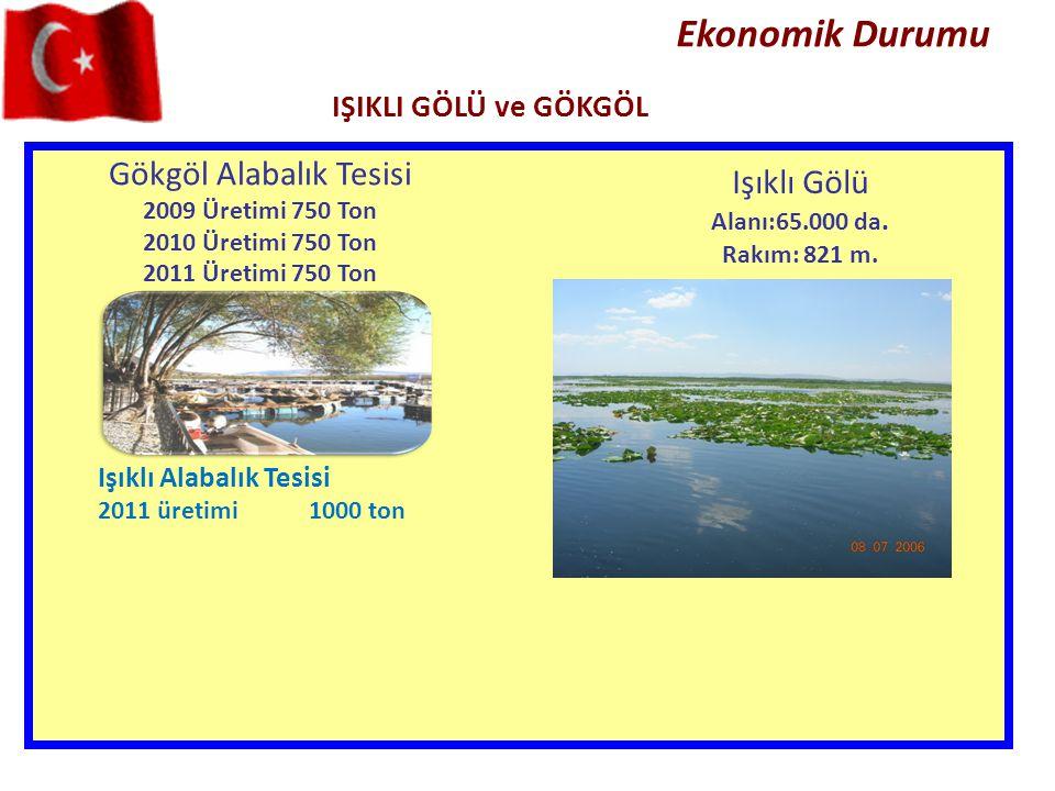 Ekonomik Durumu IŞIKLI GÖLÜ ve GÖKGÖL Gökgöl Alabalık Tesisi 2009 Üretimi 750 Ton 2010 Üretimi 750 Ton 2011 Üretimi 750 Ton Işıklı Gölü Alanı:65.000 d