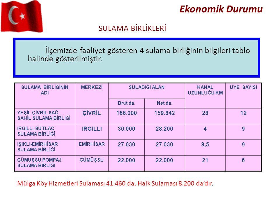 Ekonomik Durumu İlçemizde faaliyet gösteren 4 sulama birliğinin bilgileri tablo halinde gösterilmiştir. SULAMA BİRLİKLERİ Mülga Köy Hizmetleri Sulamas