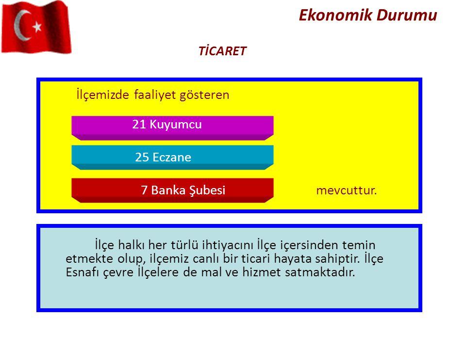 Ekonomik Durumu İlçemizde faaliyet gösteren 21 Kuyumcu 25 Eczane 7 Banka Şubesimevcuttur. İlçe halkı her türlü ihtiyacını İlçe içersinden temin etmekt