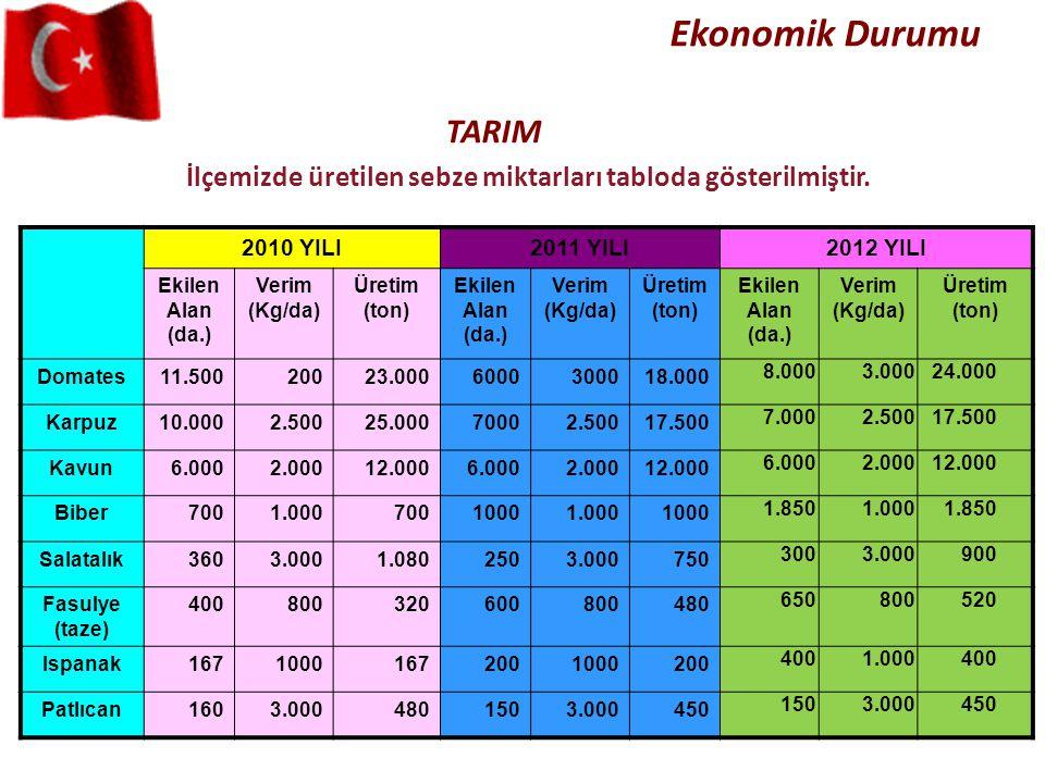 İlçemizde üretilen sebze miktarları tabloda gösterilmiştir. TARIM Ekonomik Durumu 2010 YILI2011 YILI2012 YILI Ekilen Alan (da.) Verim (Kg/da) Üretim (