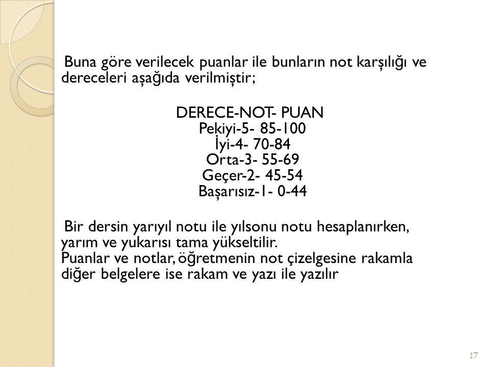 Buna göre verilecek puanlar ile bunların not karşılı ğ ı ve dereceleri aşa ğ ıda verilmiştir; DERECE-NOT- PUAN Pekiyi-5- 85-100 İ yi-4- 70-84 Orta-3-