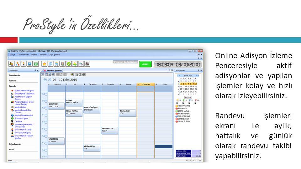 ProStyle'in Özellikleri… Online Adisyon İzleme Penceresiyle aktif adisyonlar ve yapılan işlemler kolay ve hızlı olarak izleyebilirsiniz. Randevu işlem