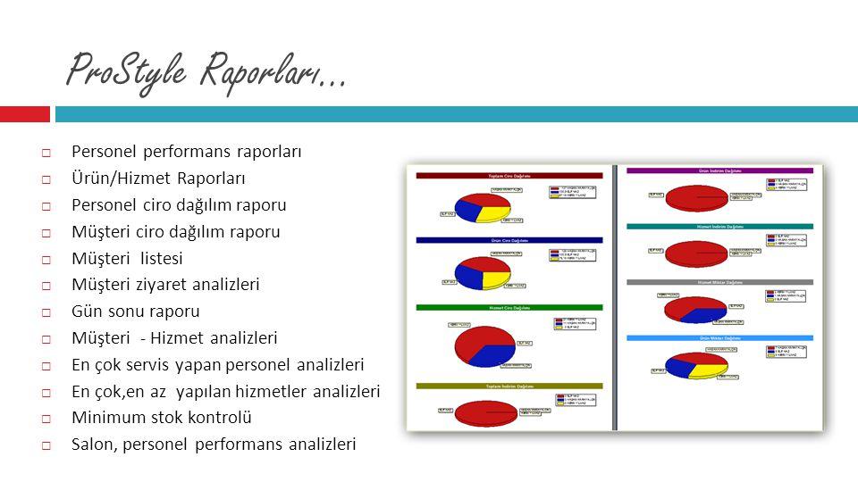  Personel performans raporları  Ürün/Hizmet Raporları  Personel ciro dağılım raporu  Müşteri ciro dağılım raporu  Müşteri listesi  Müşteri ziyar
