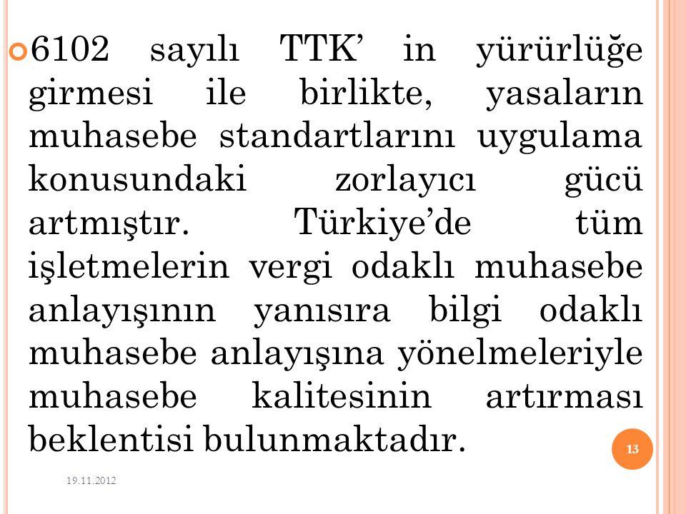 6102 sayılı TTK' in yürürlüğe girmesi ile birlikte, yasaların muhasebe standartlarını uygulama konusundaki zorlayıcı gücü artmıştır. Türkiye'de tüm iş