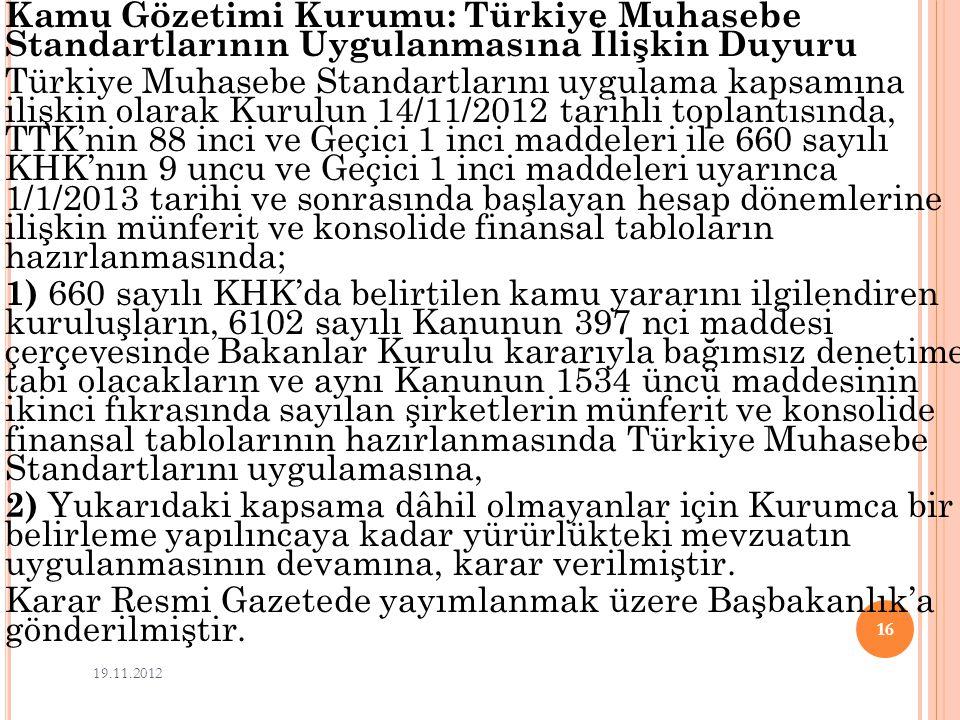 Kamu Gözetimi Kurumu: Türkiye Muhasebe Standartlarının Uygulanmasına İlişkin Duyuru Türkiye Muhasebe Standartlarını uygulama kapsamına ilişkin olarak