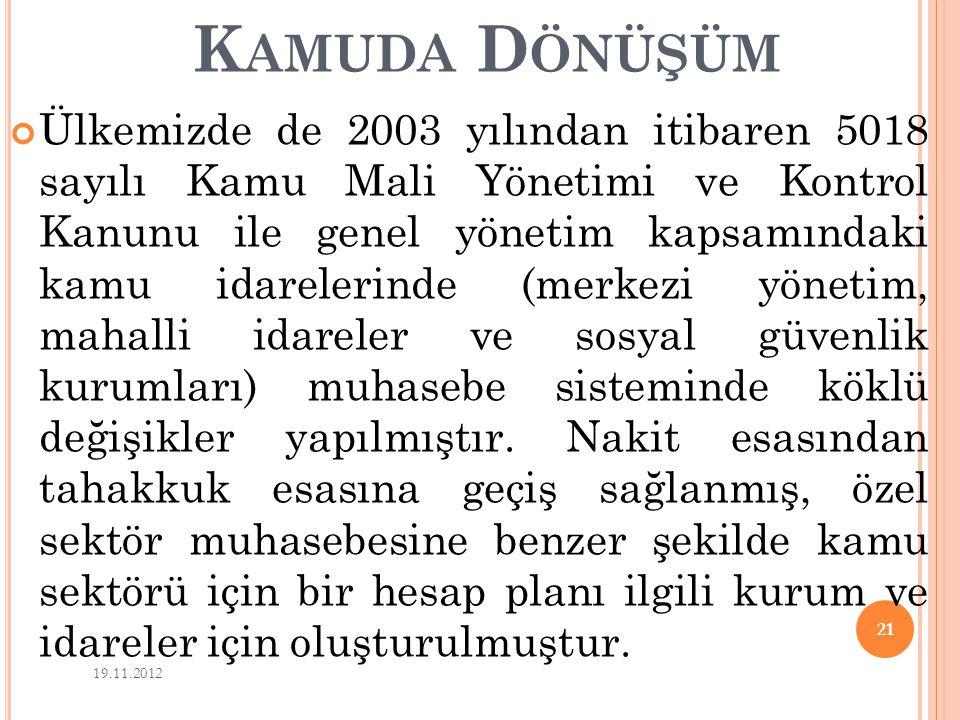 K AMUDA D ÖNÜŞÜM Ülkemizde de 2003 yılından itibaren 5018 sayılı Kamu Mali Yönetimi ve Kontrol Kanunu ile genel yönetim kapsamındaki kamu idarelerinde