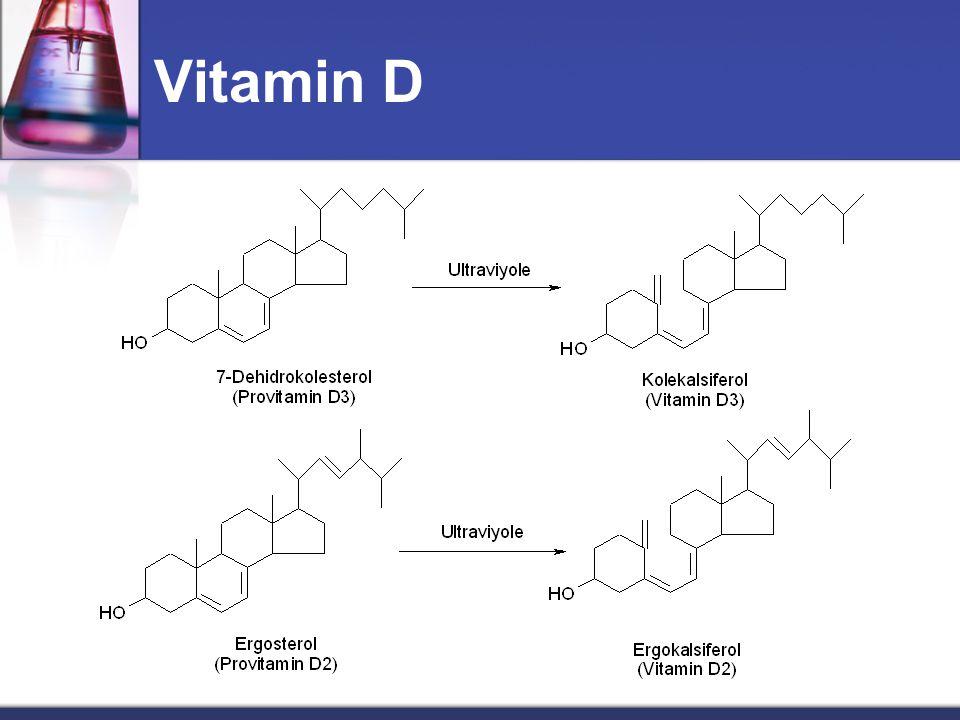 Vitamin D  Steroid yapısındadır.  Kolesterol üzerinden sentezlenir.  Kalsiferoller  Ergokalsiferol (Bitkilerde, Vitamin D2)  Kolekalsiferol (Hayv
