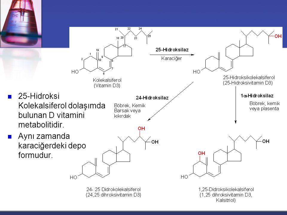 Vitamin D  Vitamin D2 ve Vitamin D3, eşit biyolojik güce sahiptirler  Diyetle alınan vitamin D2 ve vitamin D3, ince bağırsakta misellere katılırlar