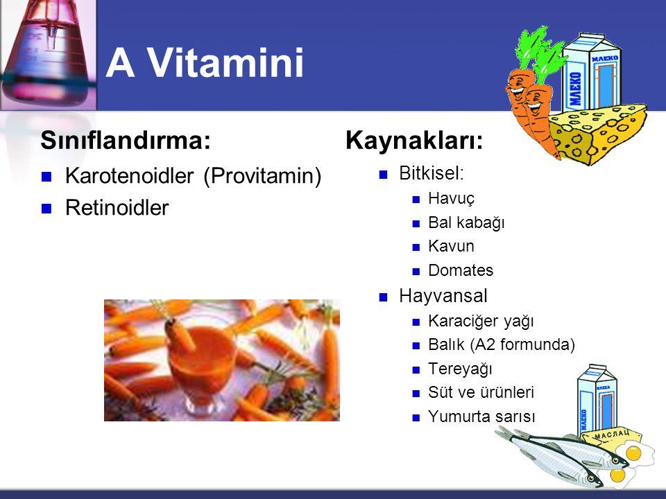 A Vitamini Sınıflandırma:  Karotenoidler (Provitamin)  Retinoidler Kaynakları:  Bitkisel:  Havuç  Bal kabağı  Kavun  Domates  Hayvansal  Karaciğer yağı  Balık (A2 formunda)  Tereyağı  Süt ve ürünleri  Yumurta sarısı