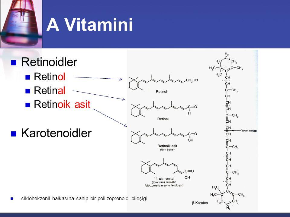A Vitamini  Retinoidler  Retinol  Retinal  Retinoik asit  Karotenoidler  siklohekzenil halkasına sahip bir poliizoprenoid bileşiği
