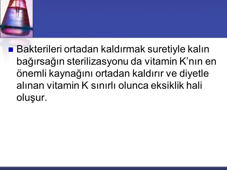  Vitamin K'nın ince bağırsaklardan emilimi yağ emiliminin normal olmasını gerektirir.  Bu nedenle  safra yolları hastalığı,  pankreas fonksiyon bo