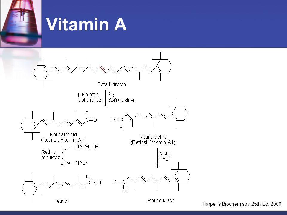 Vitamin A (Retinoidler)  Hayvanlarda retinolün uzun zincirli yağ asidi esterleri halinde,  Bitkilerde ise bir provitamin olan  -karotenler halinde