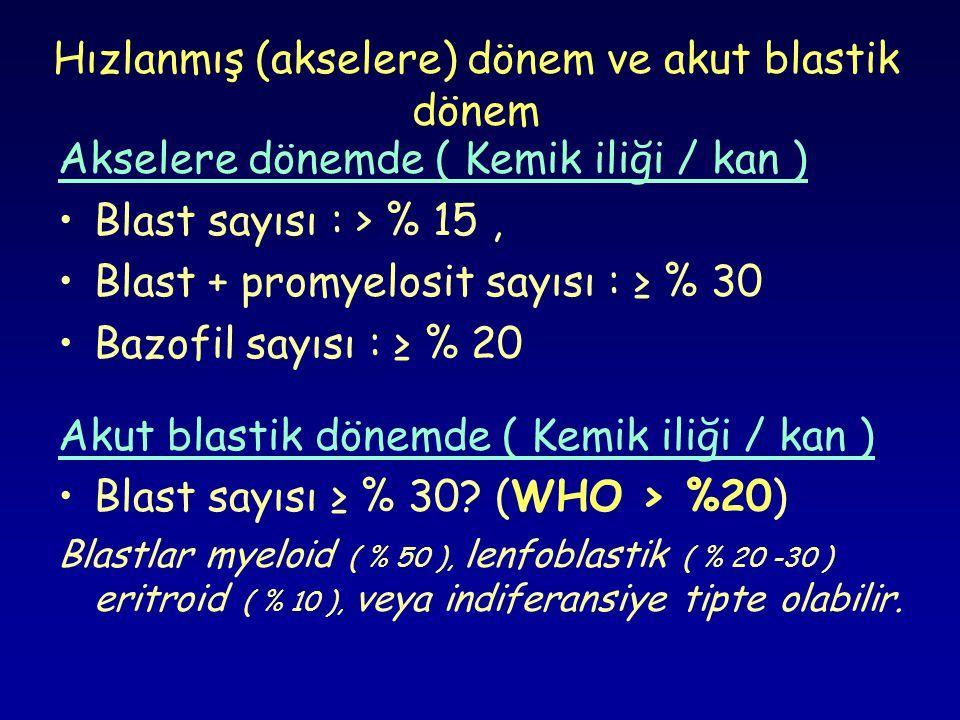 Hızlanmış (akselere) dönem ve akut blastik dönem Akselere dönemde ( Kemik iliği / kan ) •Blast sayısı : > % 15, •Blast + promyelosit sayısı : ≥ % 30 •
