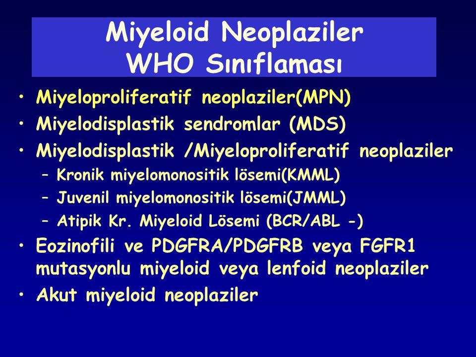 Miyeloid Neoplaziler WHO Sınıflaması •Miyeloproliferatif neoplaziler(MPN) •Miyelodisplastik sendromlar (MDS) •Miyelodisplastik /Miyeloproliferatif neo