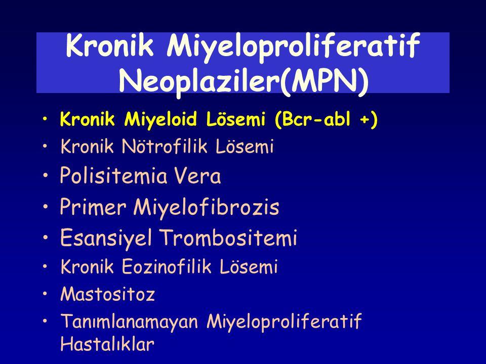 •Kronik Miyeloid Lösemi (Bcr-abl +) •Kronik Nötrofilik Lösemi •Polisitemia Vera •Primer Miyelofibrozis •Esansiyel Trombositemi •Kronik Eozinofilik Lös