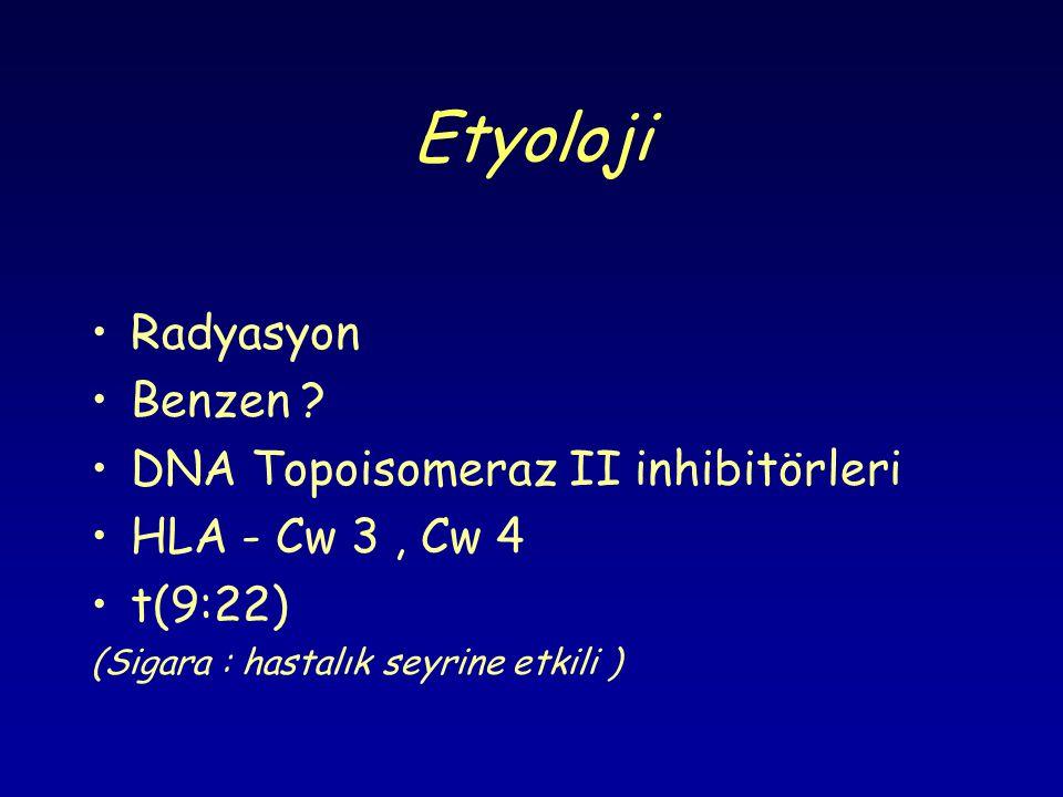 Etyoloji •Radyasyon •Benzen ? •DNA Topoisomeraz II inhibitörleri •HLA - Cw 3, Cw 4 •t(9:22) (Sigara : hastalık seyrine etkili )