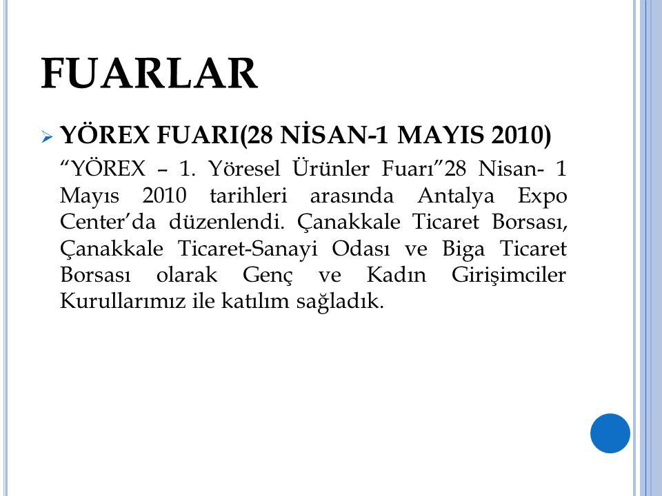 """FUARLAR  YÖREX FUARI(28 NİSAN-1 MAYIS 2010) """"YÖREX – 1. Yöresel Ürünler Fuarı""""28 Nisan- 1 Mayıs 2010 tarihleri arasında Antalya Expo Center'da düzenl"""