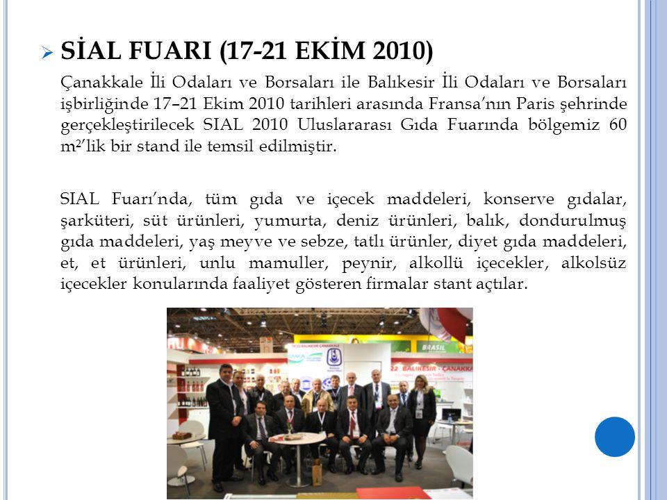  SİAL FUARI (17-21 EKİM 2010) Çanakkale İli Odaları ve Borsaları ile Balıkesir İli Odaları ve Borsaları işbirliğinde 17–21 Ekim 2010 tarihleri arasın