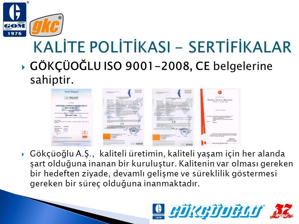  GÖKÇÜOĞLU ISO 9001-2008, CE belgelerine sahiptir.