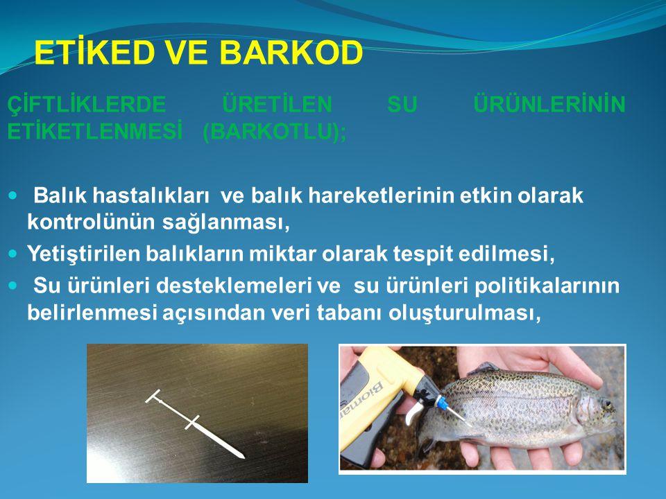 ETİKED VE BARKOD ÇİFTLİKLERDE ÜRETİLEN SU ÜRÜNLERİNİN ETİKETLENMESİ (BARKOTLU);  Balık hastalıkları ve balık hareketlerinin etkin olarak kontrolünün